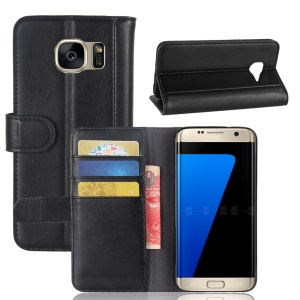 Genuine Leather Wallet Stand Protective Case for Samsung Galaxy S7 edge SM-G935 - Black