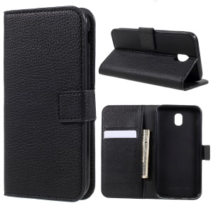Litchi Grain Wallet Stand Leather Phone Case Accessory for Samsung Galaxy J5 (2017) EU Version - Black