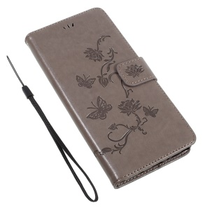 Imprint Butterfly Flowers PU Leather Wallet Phone Cover with Stand for Samsung Galaxy Note 8 - Grey