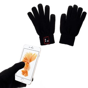 1 Pair Knit Bluetooth Talking Touch Gloves with Mic & Conductive Fingers - Black