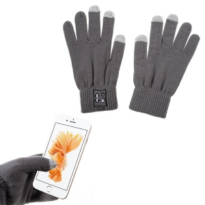 1 Pair Knit Bluetooth Call Touch Gloves with Mic & Conductive Fingers - Grey