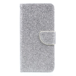 Flash Powder Leather Wallet Stand Shell for Samsung Galaxy J3 (2017) EU Version - Silver