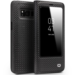 QIALINO for Samsung Galaxy S8 G950 Grid Texture Genuine Leather View Window Smart Case with Stand - Black