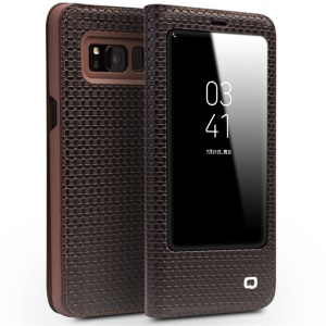 QIALINO Grid Texture Genuine Leather View Window Smart Case Cover for Samsung Galaxy S8 Plus G955 - Brown