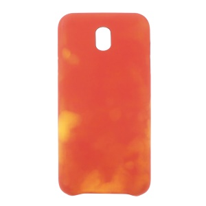 Thermal Induction Fluorescent Color Changing PU Leather Back Cover for Samsung Galaxy J7 (2017) EU Version -  Red