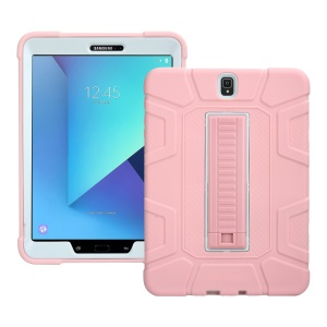 PC + TPU Hybrid Kickstand Shock Absorption Case for Samsung Galaxy Tab S3 9.7 - Pink + White