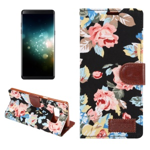 Flower Cloth Skin Faux Leather Case for Samsung Galaxy Note 8 - Black