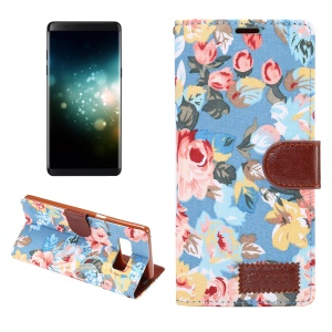 Flower Cloth Skin Faux Leather Stand Case for Samsung Galaxy Note 8 - Blue