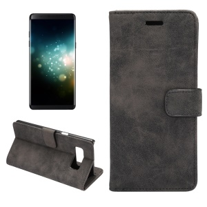 Retro Style Stand Leather Wallet Case Cover for Samsung Galaxy Note 8 - Black