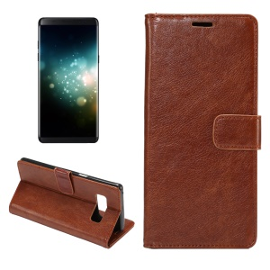 Crazy Horse Wallet PU Leather Casing Cover with Stand for Samsung Galaxy Note 8 - Brown