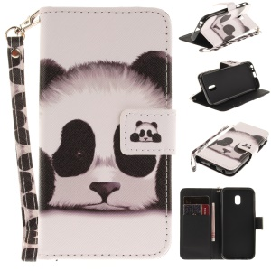 For Samsung Galaxy J3 (2017) EU Version Patterned Stand Leather Wallet Folio Case with Lanyard - Cute Panda