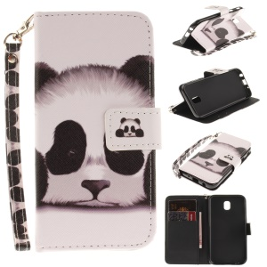 For Samsung Galaxy J5 (2017) EU Version Patterned Stand Leather Wallet Folio Case with Lanyard - Cute Panda