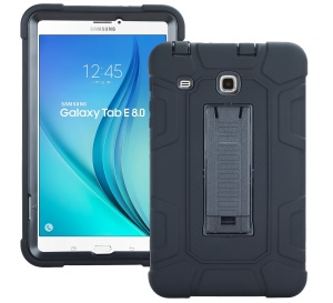 Detachable 2-in-1 Shock Proof Anti-dust Protective TPU + PC Kickstand Cover  for Samsung Galaxy Tab E 8.0 T375 - Black
