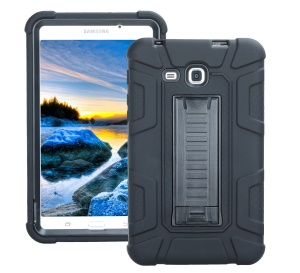 Shock Absorption PC + TPU Hybrid Kickstand Case for Samsung Galaxy Tab A 7.0 T280 T285 - All Black