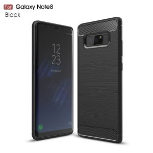 For Samsung Galaxy Note 8 Carbon Fiber Brushed TPU Case Accessory - Black