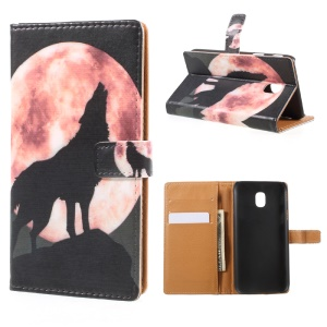 Pattern Printing PU Leather Wallet Stand Cell Phone Case for Samsung Galaxy J3 (2017) EU Version - Wolf Howling at the Moon