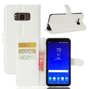 Litchi Texture Wallet Stand PU Leather Mobile Phone Cover for Samsung Galaxy S8 Active - White