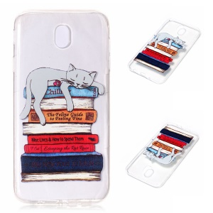 Embossment Pattern Soft TPU Protective Cover for Samsung Galaxy J7 (2017) EU Version - Cat Sleeping on Books