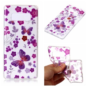 For Samsung Galaxy Note 8 Glittery Powder TPU IMD Cell Phone Case Shell - Butterflies