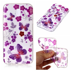 Glitter Powder IMD TPU Back Cover for Samsung Galaxy J7 (2017) EU Version - Butterflies