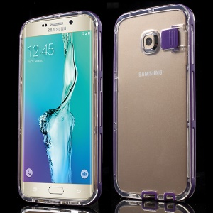For Samsung Galaxy S6 Edge G925 PC + TPU Phone Case Incoming Call Flash - Purple