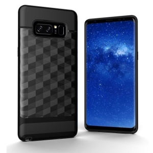 2-in-1 Rhombus TPU + PC Hybrid Case for Samsung Galaxy Note 8 - Black