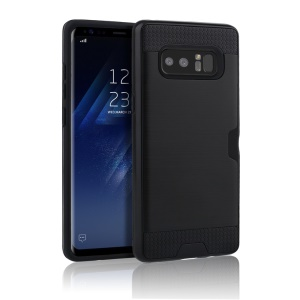 Brushed Plastic TPU Card Holder Casing for Samsung Galaxy Note 8 - Black