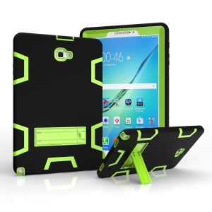 Armor Defender Kickstand PC Silicone Hybrid Case for Samsung Galaxy Tab A 10.1 (2016) with S Pen P580 P585 - Black / Green