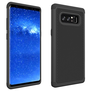 Football Grain PC + Silicone Hybrid Cover Shell for Samsung Galaxy Note 8 - Black