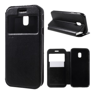 ROAR CORÉIA Noble Leather View Window Case Stand para Samsung Galaxy J5(2017) Versão da UE / J5 Pro (2017) - negro