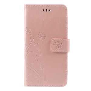 Imprint Flower Butterfly Pattern Wallet Leather Stand Phone Cover for Samsung Galaxy J3 (2017) EU Version / J3 Pro (2017) - Rose Gold