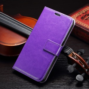 Crazy Horse Wallet Leather Shell for Samsung Galaxy S7 Edge - Purple