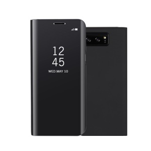 For Samsung Galaxy Note 8 N950 Plated Mirror Surface Information View Leather Stand Casing - Black