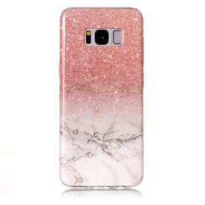 Marble Pattern IMD TPU Jelly Case for Samsung Galaxy S8 G950 - Pink / White