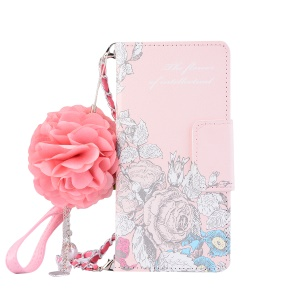Pearl Decorated Flower Patterned Wallet Leather Mobile Phone Casing for Samsung Galaxy S8 SM-G950 - Pink and Blue Flower
