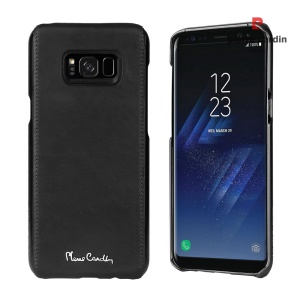 PIERRE CARDIN Genuine Leather Coated PC Back Cover for Samsung Galaxy S8 Plus G955 - Black
