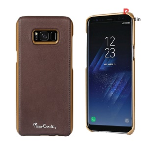 PIERRE CARDIN Genuine Leather Coated PC Back Shell for Samsung Galaxy S8+ G955 - Coffee
