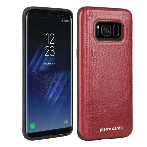PIERRE CARDIN PCS-S02 for Samsung Galaxy S8 G950 Leather Coated TPU Cellphone Protective Casing - Red
