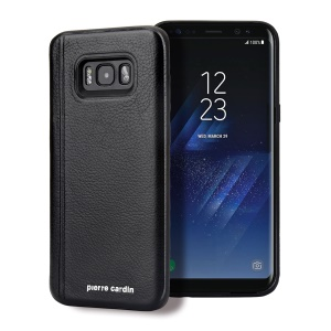 PIERRE CARDIN Custodia in pelle rivestita in pelle TPU per Samsung Galaxy S8+ SM-G955 - Nero
