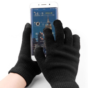 Unisex Fashion Warm Stitch Knitted Soft Gloves Touchscreen Plush Mittens - Black