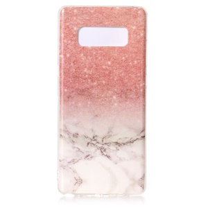 Marble Pattern IMD TPU Soft Case for Samsung Galaxy Note 8 SM-N950 - Pink / White