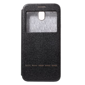 View Window Leather Stand Cover for Samsung Galaxy J7 Pro (2017) / J7 (2017) EU Version with Touch Slide Button - Black