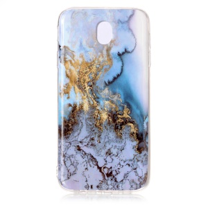 Marble Pattern IMD TPU Cellphone Cover for Samsung Galaxy J7 (2017) EU Version - Gold / Blue