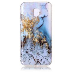 For Samsung Galaxy J3 (2017) EU Version Marble Pattern IMD TPU Back Cover Case - Gold / Blue