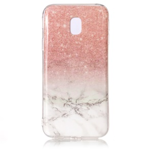 Marmor Pattern IMD TPU Jelly Case für Samsung Galaxy J3(2017) EU-Version - Rosa / Weiß