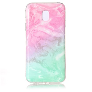 Marble Texture IMD Soft TPU Phone Shell for Samsung Galaxy J3 (2017) EU Version - Pink / Cyan