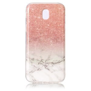 Marble Pattern IMD TPU Jelly Cellphone Accessory Case for Samsung Galaxy J5 Pro (2017) / J5 (2017) EU Version - Pink / White