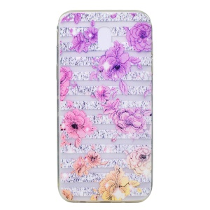 Ultra-thin Patterned Soft TPU Back Phone Cover for Samsung Galaxy J3 (2017) EU Version - Strips and Flowers