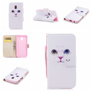 Patterned Leather Wallet Mobile Phone Shell for Samsung Galaxy J3 (2017) EU Version/J3 Pro (2017) - Pretty Cat