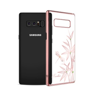 KINGXBAR Authorized Swarovski Diamond Flower Plating PC Case for Samsung Galaxy Note 8 SM-N950 - Bamboo